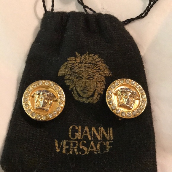 c907f1bc2a46 Gianni Versace Jewelry - GIANNI VERSACE MEDUSA GOLD WITH CRYSTALS EARRINGS!